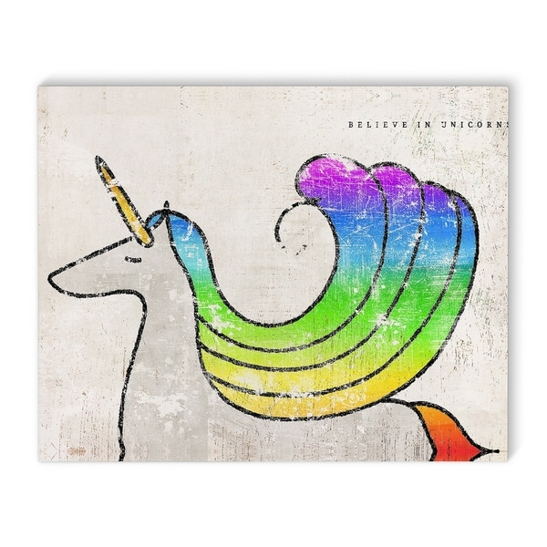 Kavka Designs Believe in unicorns Green/Blue/Pink/Purple/Ivory Canvas Art