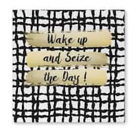 Kavka Designs Wake Up And Seize The Day Black/White/Gold Canvas Art