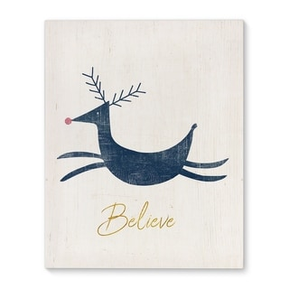 Kavka Designs Believe Blue/Ivory/Gold Canvas Art