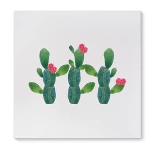 Kavka Designs Three Cactus Green/Pink Canvas Art