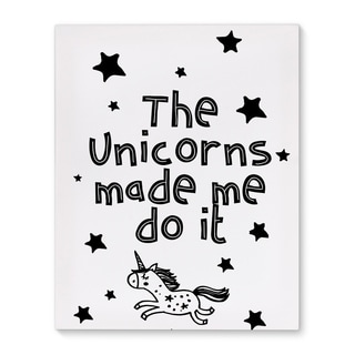 Kavka Designs The unicorns made me do it Black/White Canvas Art