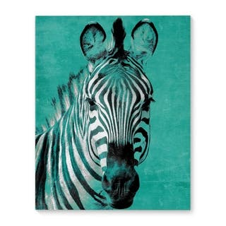Kavka Designs Zebra Teal Teal/Blue/Black/White Canvas Art