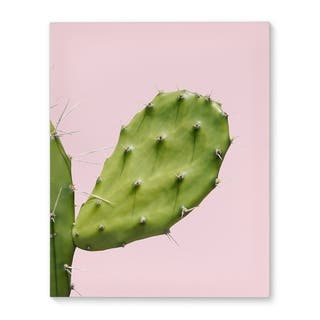 Kavka Designs Southwest Cactus Closeup Pink/Green Canvas Art