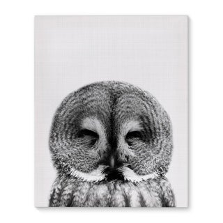 Kavka Designs Owl Grey/Black/White Canvas Art