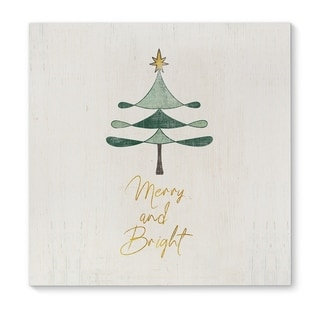 Kavka Designs Merry and Bright Green/Gold/White Canvas Art