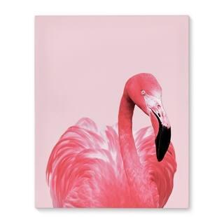 Kavka Designs Pink Flamingo Pink/Black Canvas Art