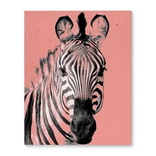 Kavka Designs Zebra Peach Peach/Pink/Black/White Canvas Art