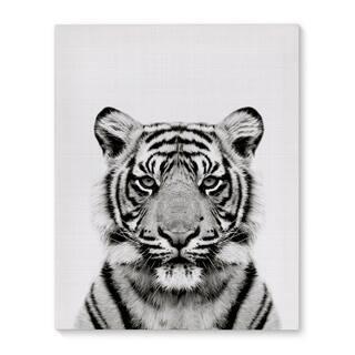 Kavka Designs Tiger Grey/Black/White Canvas Art