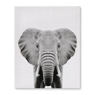 Kavka Designs Elephant Grey/Black/White Canvas Art