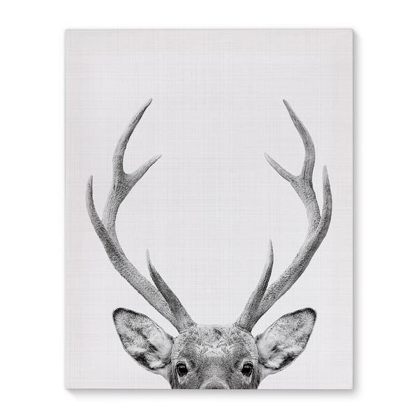 Kavka Designs Deer Grey Black White Canvas Art Overstock 17078059