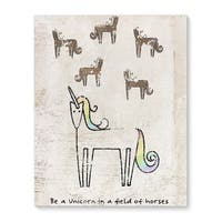Kavka Designs Be a unicorn Brown/Ivory/Yellow/Blue/Green Canvas Art