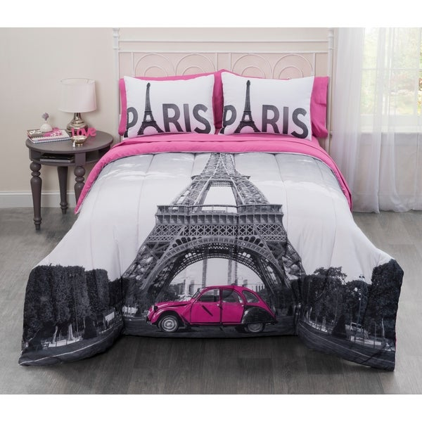 Photo Real Paris Eiffel Tower 7 Piece Bed In A Bag Set