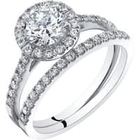 Oravo 14K White Gold Halo Engagament Ring and Wedding Band Bridal Set