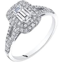 Oravo 14K White Gold Emerald Cut Engagement Ring