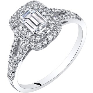 Oravo 14K White Gold Emerald Cut Engagement Ring