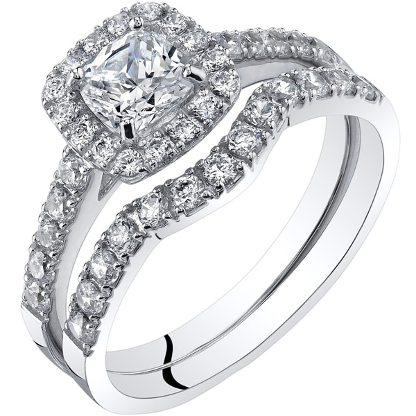 Oravo 14k White Gold Cushion Cut Engant Ring And Wedding Band Bridal Set