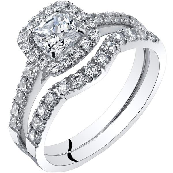 Shop Oravo 14k White Gold Cushion Cut Engagament Ring And Wedding