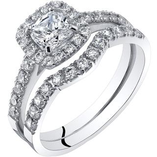 Oravo 14K White Gold Cushion Cut Engagament Ring and Wedding Band Bridal Set