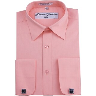 Roman Giardino Men's Dress Shirt Wrinkle-free Convertible Cuff w/Free Cufflinks Baby Pink