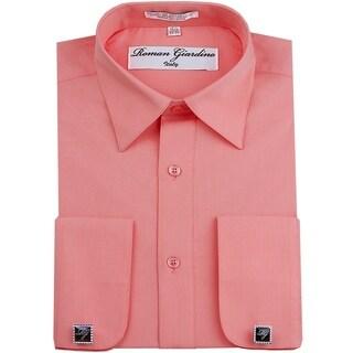 Roman Giardino Men's Dress Shirt Wrinkle-free Convertible Cuff w/Free Cufflinks TeaRose