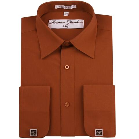 Roman Giardino Men's Dress Shirt Wrinkle-free Convertible Cuff w/Free Cufflinks Rust
