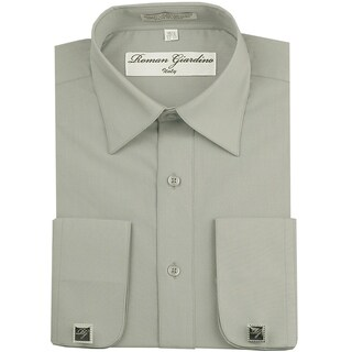 Roman Giardino Men's Dress Shirt Wrinkle-free Convertible Cuff w/Free Cufflinks Silver