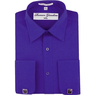 Roman Giardino Men's Dress Shirt Wrinkle-free Convertible Cuff w/Free Cufflinks Royal Blue