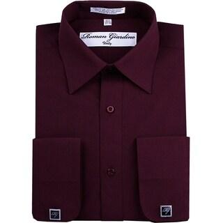 Roman Giardino Men's Dress Shirt Wrinkle-free Convertible Cuff w/Free Cufflinks Burgundy