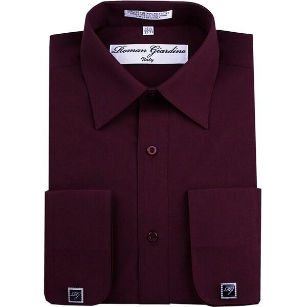 Roman Giardino Men's Dress Shirt Wrinkle-free Convertible Cuff w/Free Cufflinks Burgundy. Opens flyout.