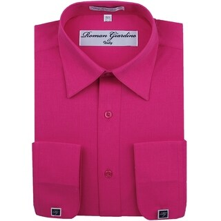 Roman Giardino Men's Dress Shirt Wrinkle-free Convertible Cuff w/Free Cufflinks VeryBerry
