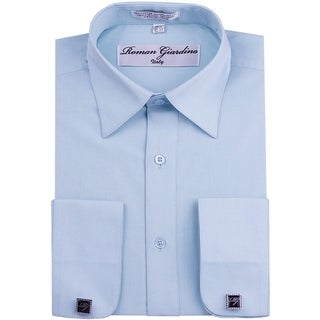 Roman Giardino Men's Dress Shirt Wrinkle-free Convertible Cuff w/Free Cufflinks Baby Blue