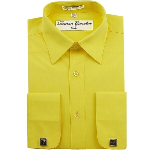 Roman Giardino Mens Dress Shirt Wrinkle-free Convertible Cuff w/Free Cufflinks Mustard