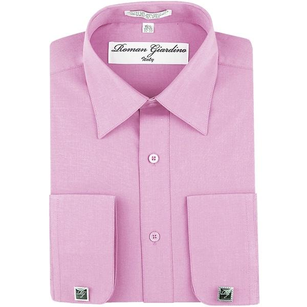 Roman Giardino Mens Dress Shirt Wrinkle-free Convertible Cuff w/Free Cufflinks Lilac Snow