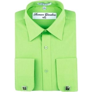 Roman Giardino Men's Dress Shirt Wrinkle-free Convertible Cuff w/Free Cufflinks HoneyDew