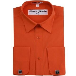 Roman Giardino Men's Dress Shirt Wrinkle-free Convertible Cuff w/Free Cufflinks Mango