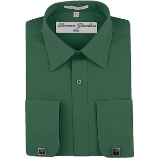 Roman Giardino Men's Dress Shirt Wrinkle-free Convertible Cuff w/Free Cufflinks Teal