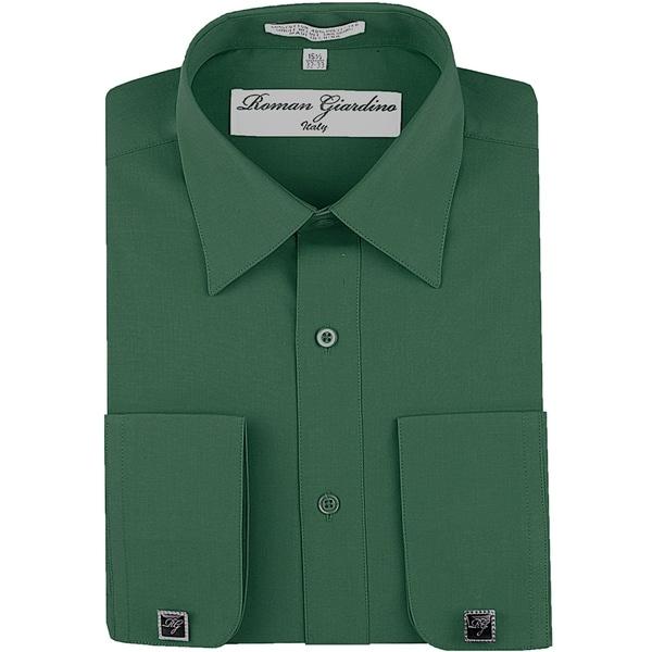 Roman Giardino Mens Dress Shirt Wrinkle-free Convertible Cuff w/Free Cufflinks Teal