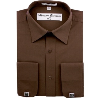Roman Giardino Men's Dress Shirt Wrinkle-free Convertible Cuff w/Free Cufflinks Brown