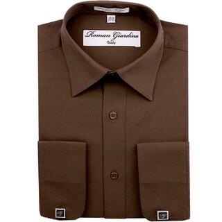 Roman Giardino Men's Dress Shirt Wrinkle-free Convertible Cuff w/Free Cufflinks Brown