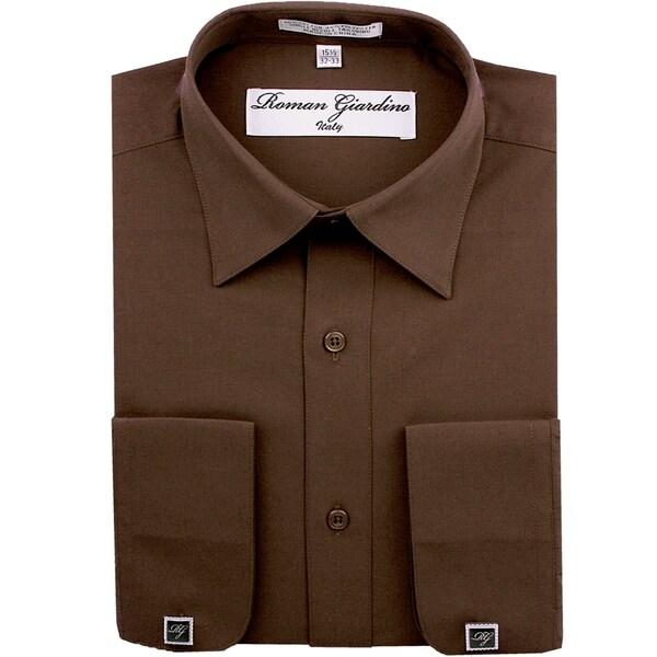 Roman Giardino Mens Dress Shirt Wrinkle-free Convertible Cuff w/Free Cufflinks Brown