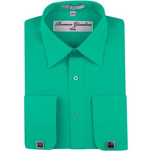 Roman Giardino Men's Dress Shirt Wrinkle-free Convertible Cuff w/Free Cufflinks Turquoise