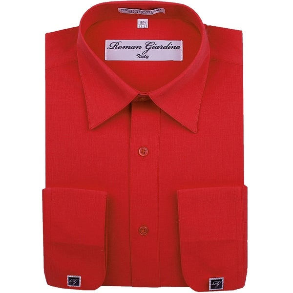 Roman Giardino Mens Dress Shirt Wrinkle-free Convertible Cuff w/Free Cufflinks TrueRed