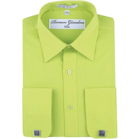 Roman Giardino Men's Dress Shirt Wrinkle-free Convertible Cuff w/Free Cufflinks KeyLime