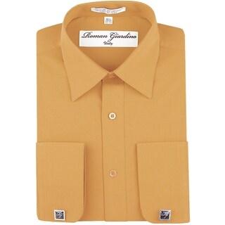 Roman Giardino Men's Dress Shirt Wrinkle-free Convertible Cuff w/Free Cufflinks Peach