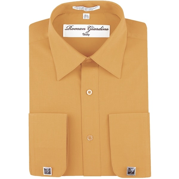 Roman Giardino Mens Dress Shirt Wrinkle-free Convertible Cuff w/Free Cufflinks Peach