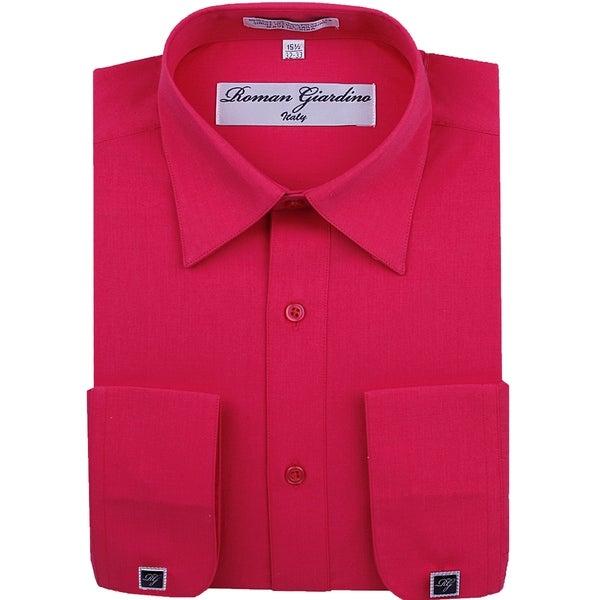 Roman Giardino Mens Dress Shirt Wrinkle-free Convertible Cuff w/Free Cufflinks Raspberry