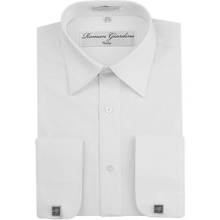 Roman Giardino Men's Dress Shirt Wrinkle-free Convertible Cuff w/Free Cufflinks White