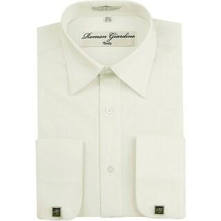 Roman Giardino Men's Dress Shirt Wrinkle-free Convertible Cuff w/Free Cufflinks Offwhite
