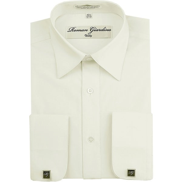 Roman Giardino Men's Dress Shirt Wrinkle-free Convertible Cuff w/Free Cufflinks Offwhite. Opens flyout.