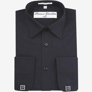 Roman Giardino Men's Dress Shirt Wrinkle-free Convertible Cuff w/Free Cufflinks Black